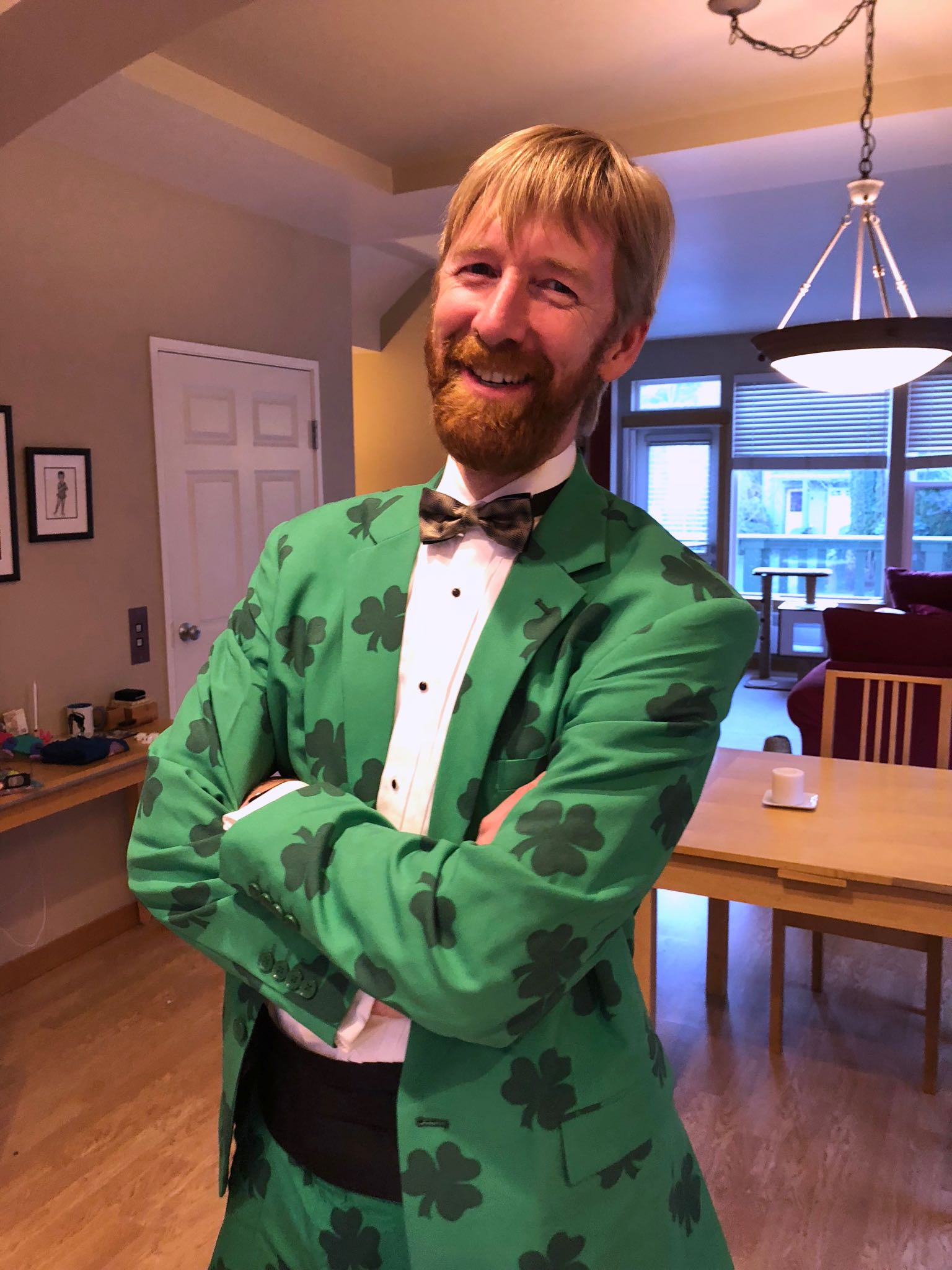 Tom in green tuxedo with green shamrocks