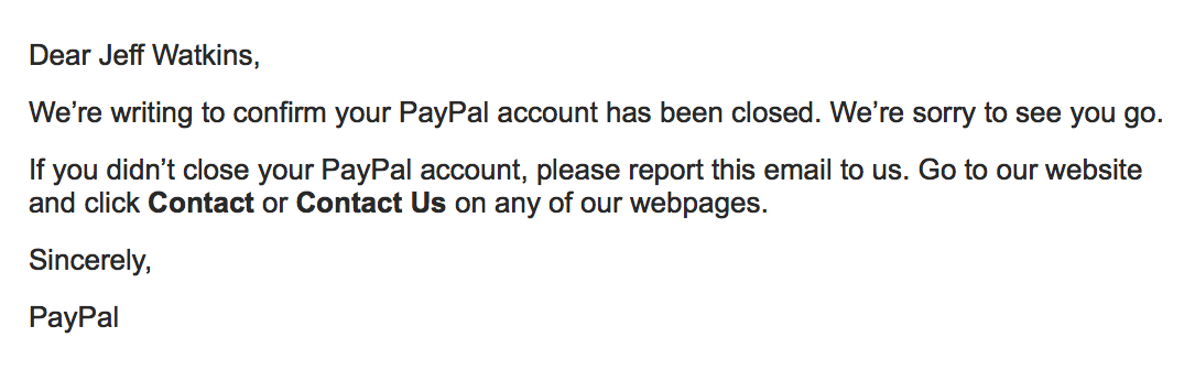 email confirmation of closed paypal account